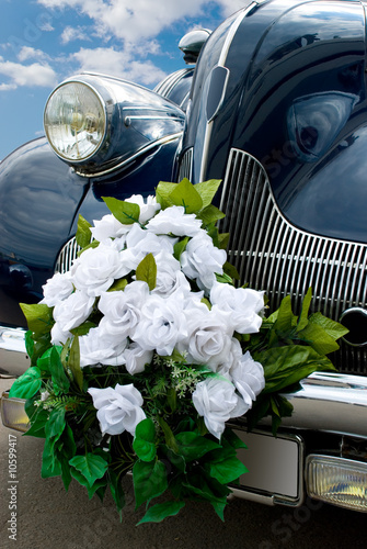 The blue wedding automobile