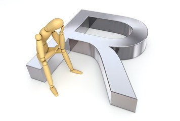 Lay Figure Sitting on Rand Symbol