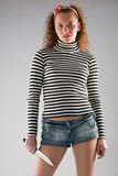 agressive girl with knife in naval striped vest poster