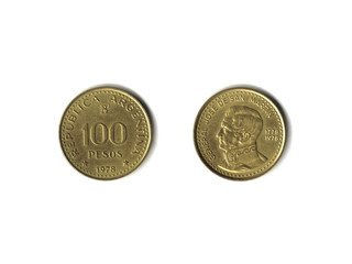 100 Argentine Pesos coin isolated on white