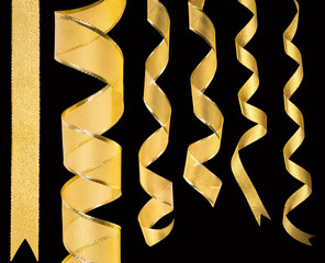 Golden ribbons isolated