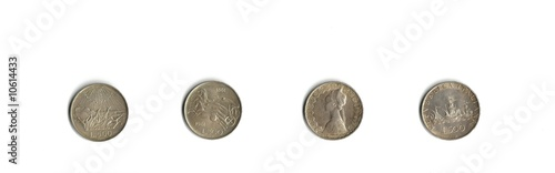 old silver coins Italian isolated on white