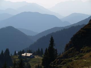 Auf dem Brauneck in Lenggries, Oberbayern, Blick in die Alpen