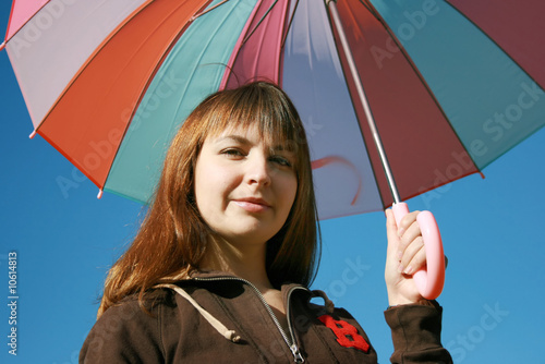 Under colored umbrella