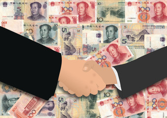 handshake on chinese currency
