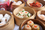 Fototapety variety of dim sum in bamboo steam containers