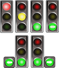 Set of traffic lights. Red signal. Yellow signal. Green signal