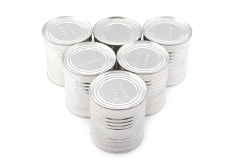 canned goods on white
