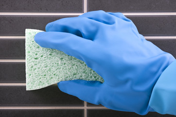 House cleaning - Scrubbing tiles