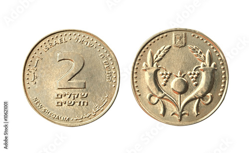 Head and tail of coin of two sheqelim