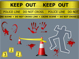 Caution sign lines, body, blood marks at the crime scene poster