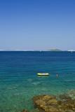 Raft docked on beach, Adriatic sea, Croatia poster