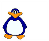 Comic penguin on a white background poster