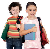 Two children students returning to school poster
