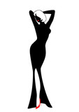 Silhouette of the harmonous woman on a black background poster