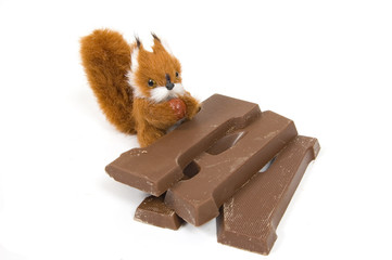 cute plushy squirrel with a chocolate letter for dutch holiday c