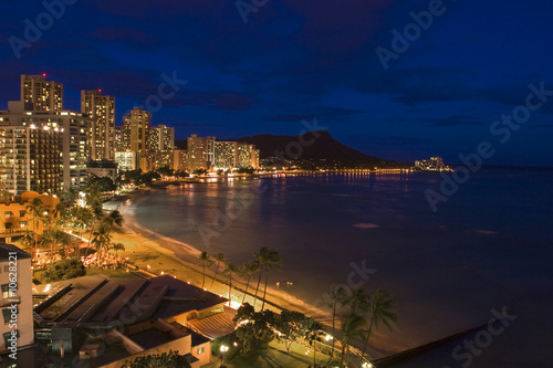 waikiki beach on Oahu, Hawaii at night