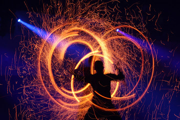 Fireshow, slow shutter speed