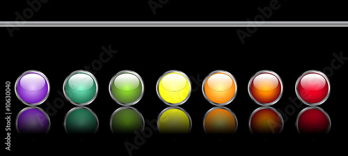 Set of editable glossy web buttons with metallic edge