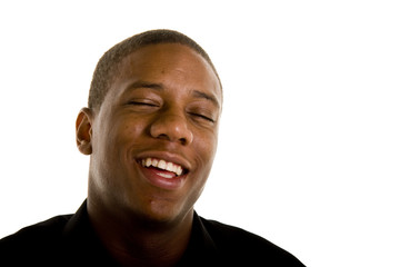 Young Black Man Laughing Eyes Closed