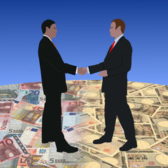 business men meeting on euros and Yen