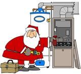 Santa Fixing A Furnace poster
