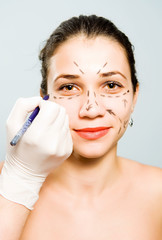 Drawing lines for facial plastic surgery