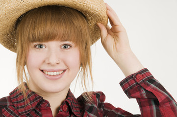 happy girl with straw hat