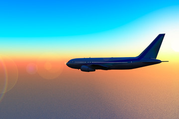 Aircraft in fly to sunset