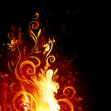 Fiery floral background