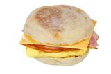 Scrambled egg ham cheese sandwich on an english muffin poster