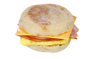 Scrambled egg ham cheese sandwich on an english muffin