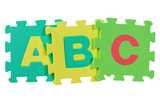Alphabet blocks forming the letters ABC isolated on white poster