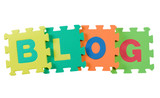 Alphabet blocks forming the word BLOG isolated on white poster