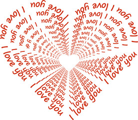 """Heart with words """"I love you"""""""