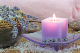 Fototapety Lavender spa on bamboo mat