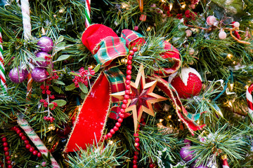 Christmas Tree Red Star and Ribbon
