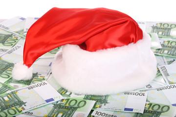 Santa Claus hat on euro.
