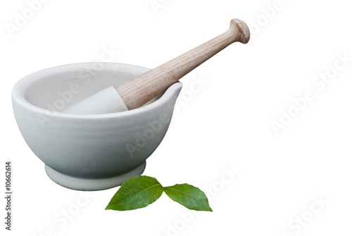 Pestle and Mortar with Bay Leaves