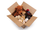 Fluffy toys in a box poster