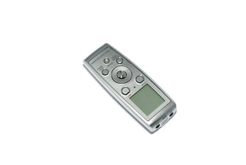 Digital voice recorder isolated on white background.
