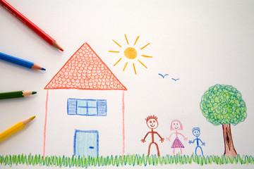 Dessin d'enfant : Maison et Famille