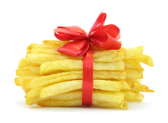 French fries potatoes with red tie