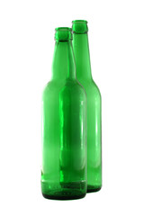 Two Green beer boottles isolated on white