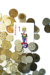 coins and playing card
