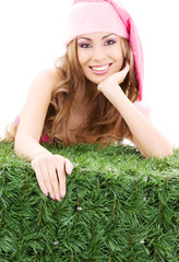 happy santa helper in pink hat