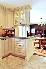 Modern kitchen and dining room interior
