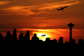 Seattle skyline with planes