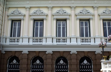 decorative window balconies with columns & balustrade