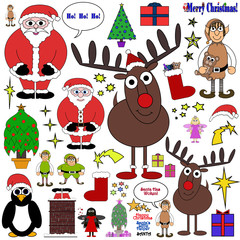 Christmas Themed Cartoon Collection - Isolated on white